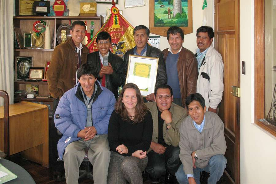 visiting Bolivia: Barbara Altmann, head of raw material sourcing at Rapunzel with members of El Ceibo
