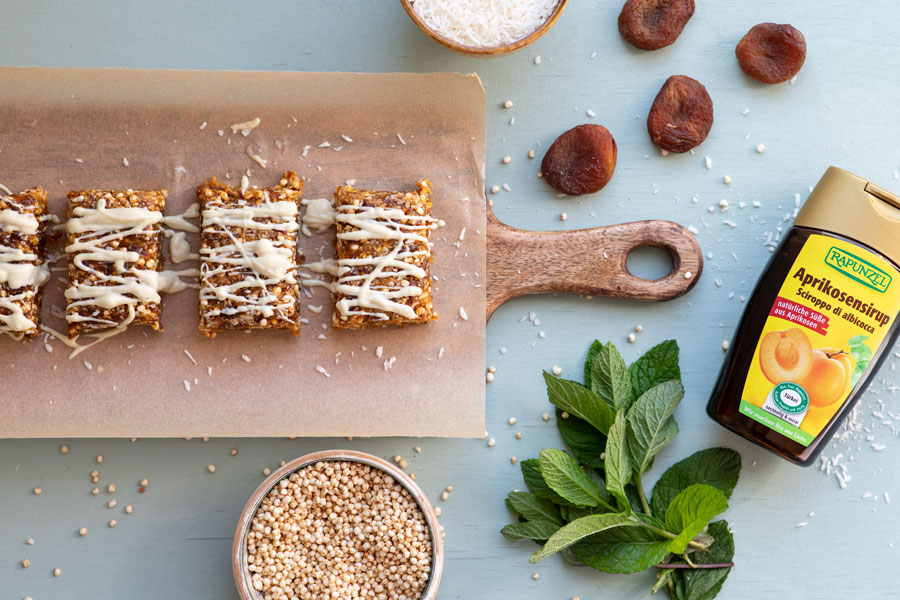 Apricot coconut bars with quinoa and white chocolate