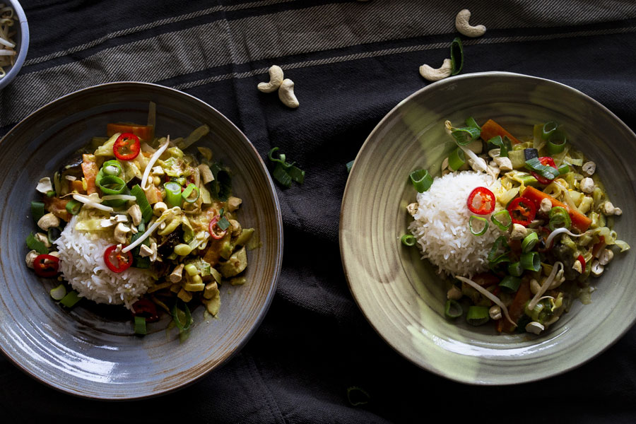 Asian wok with curry -coconut- peanut sauce and basmati rice