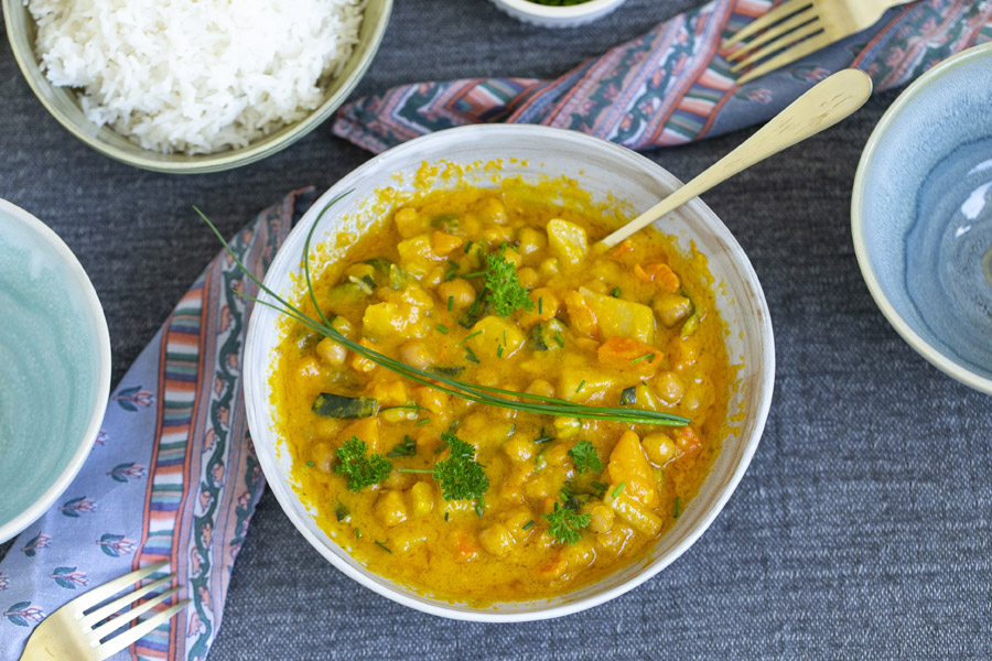 Indian chickpea vegetable stew with jasmine rice