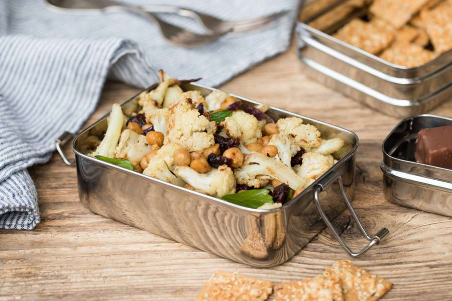 Roasted cauliflower salad with chickpeas, cranberries and a lemon tahini