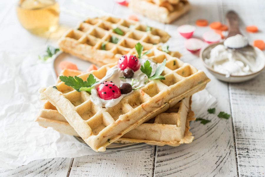 Vegetable waffles with protein flour