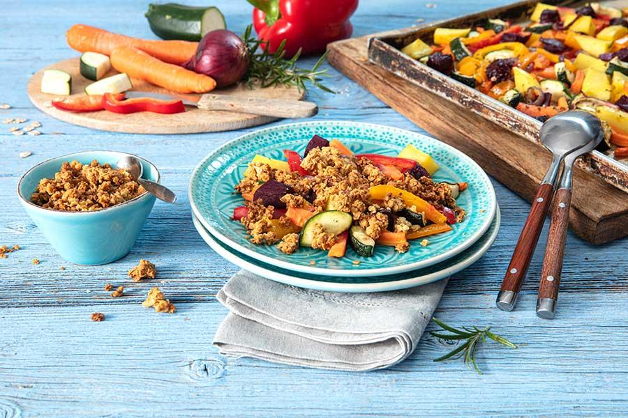 Grundrezept würzige Flocken-Streusel für Ofen- & Gemüsegerichte