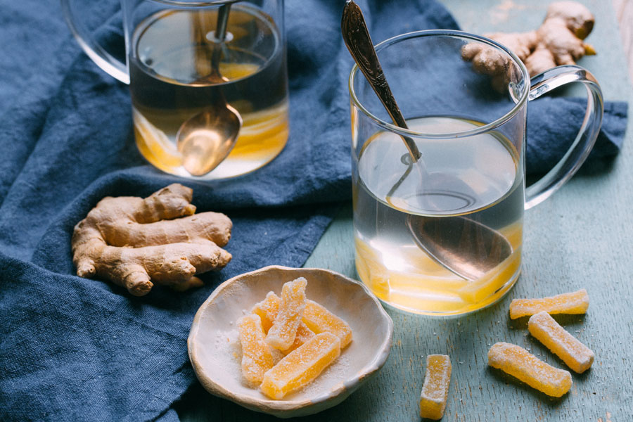 Ginger Tea with candied Ginger Sticks