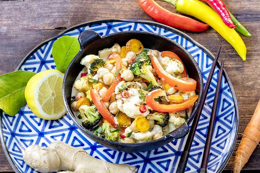 Kichererbsen-Gemüse-Curry, scharf, mit Kokosmilch