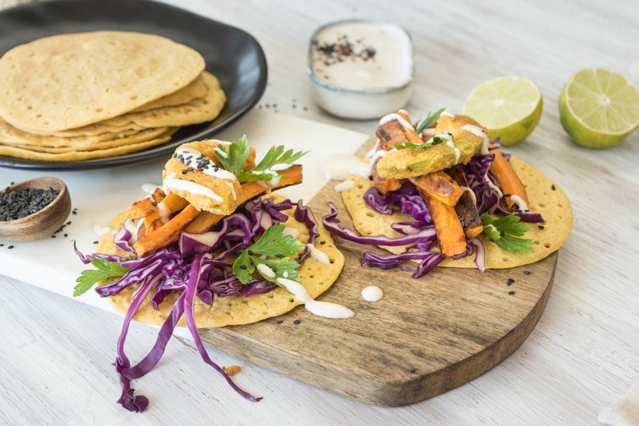 Rainbow-Tacos with chickpea flour and tahini