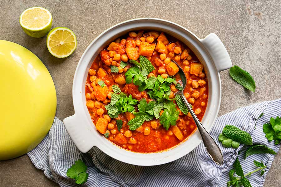 Moroccan stew made from sweet potatoes and chickpeas