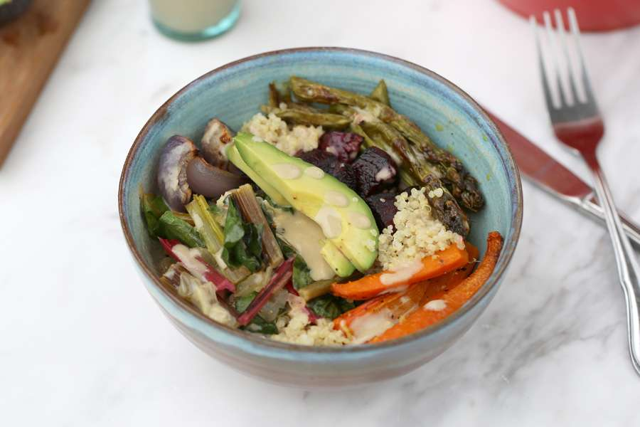 Lunch Bowl with roasted Vegetables, sautéed Chard, Quinoa & Avocado