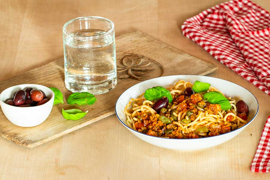 Spaghetti with Olives and Capers