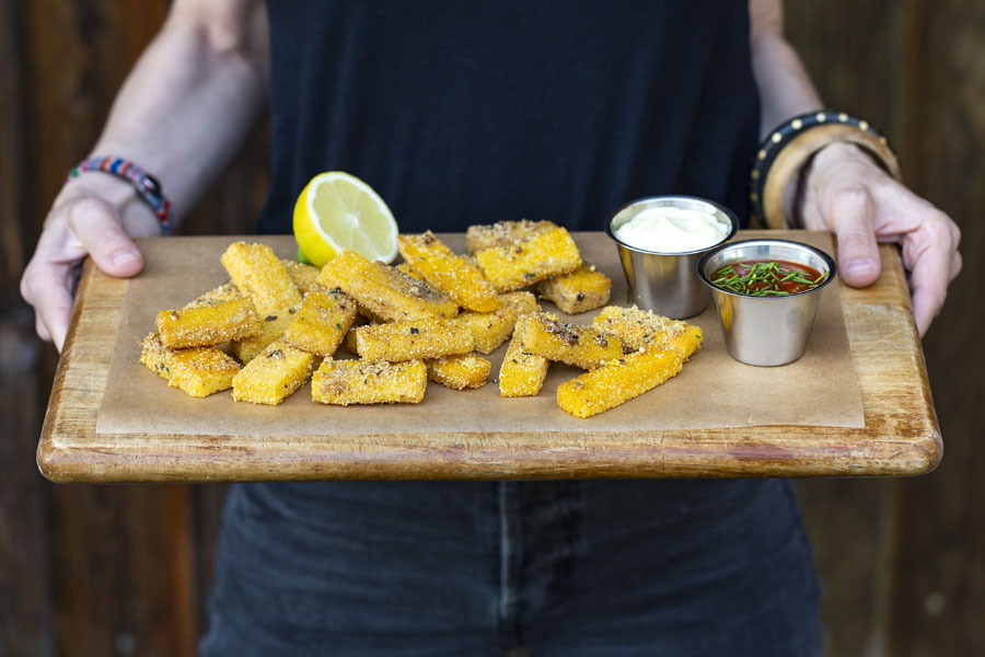 Polenta sticks with a tahini aioli and tomato dip