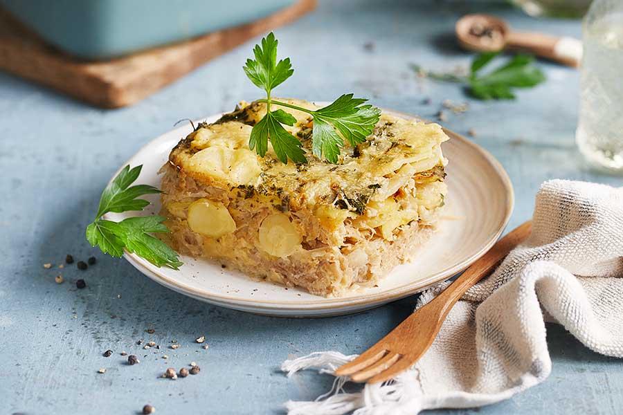 Sauerkraut-Auflauf mit Kartoffel-Kruste