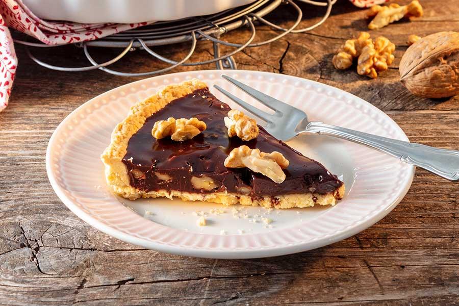 Schokoladentarte mit Walnüssen