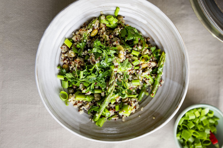 Asparagus salad with quinoa mix and soy beans Edamame