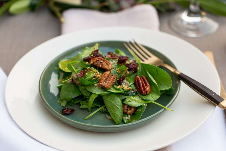 Candied pecan nuts with cranberries on a bed of spinach leaves with a toasted sesame dressing
