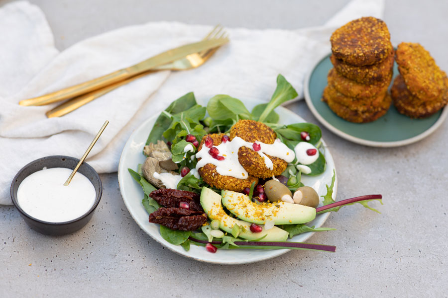 sweet potato falafel with turmeric Gomasio