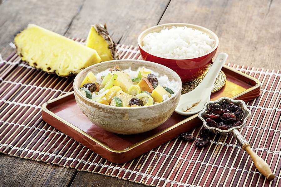 Wokpfanne, fruchtig-süß mit Gemüse und Basmati Reis