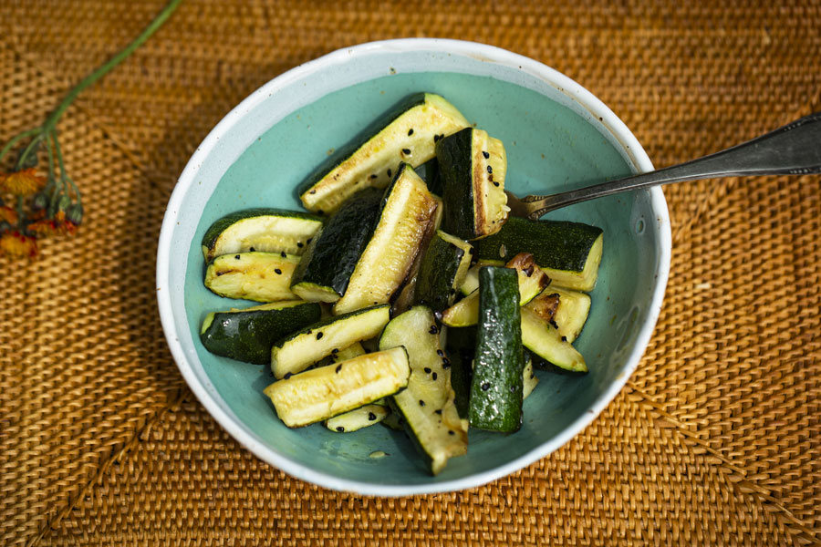 Ayurvedic Zucchini in ghee stewed with onion seed